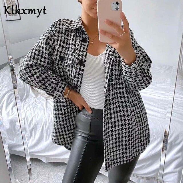 Klkxmyt-veste en Tweed pied-de-poule pour femme, manteau en Tweed à la mode, Vintage, manches longues, poches, hauts chics, 2020 1