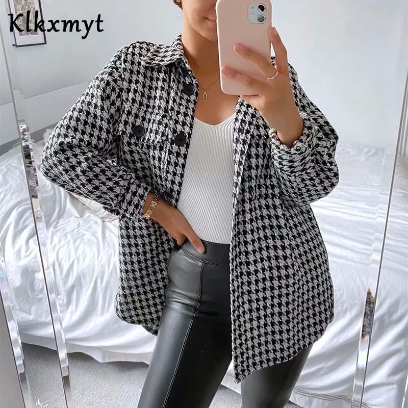 Klkxmyt Za Jacket Women 2020 Fashion Houndstooth Frayed Tweed Jacket Coat Vintage Long Sleeve Pockets Female Outerwear Chic Tops