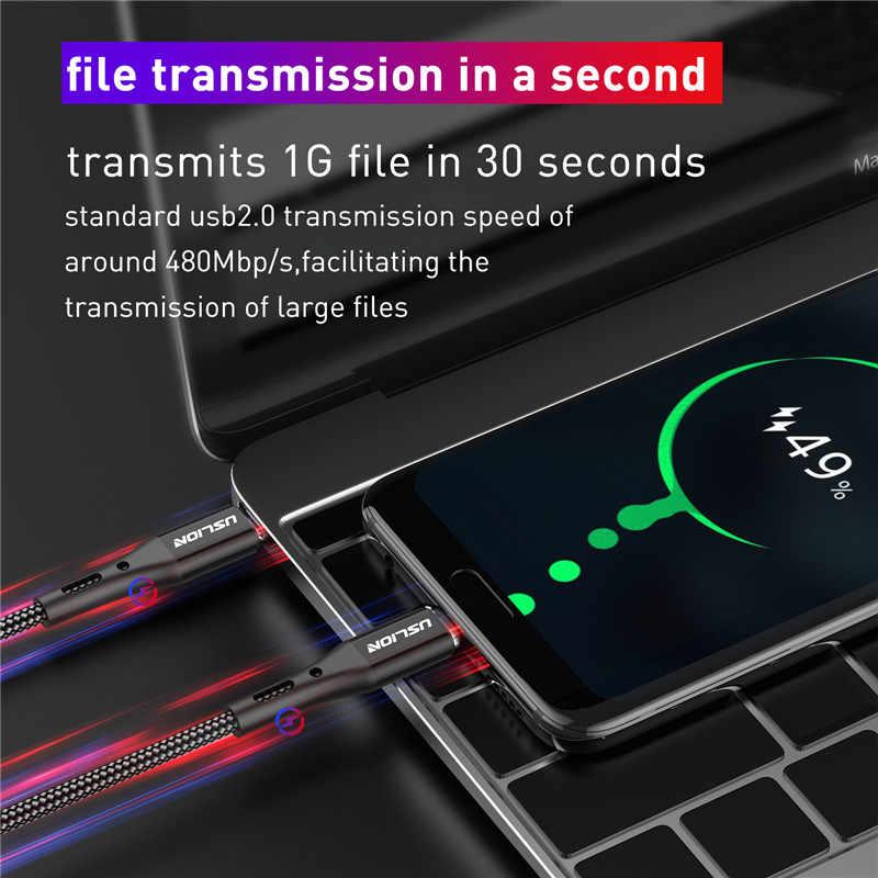 USLION USB C ประเภท C สำหรับ MacBook Samsung S10 S9 PD 60W QC3.0 Fast CHARGING ข้อมูลสาย USB-C Type-C สายไฟ 2 M 3 M