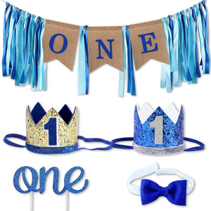 One Year Birthday Gift Hat Tie 1st Birthday Banner Kids Happy Birthday Banner 1 One Year First Birthday Boy Baby Shower