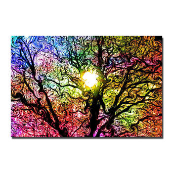 J0253 Psychedelic Trippy Colorful Silk Poster Art Light Canvas Home Decoration image