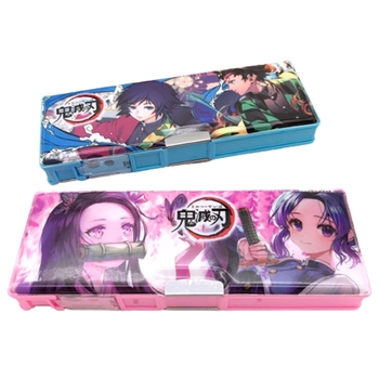 Anime Demon Slayer Kimetsu No Yaiba Pencil Case Cute Multi Function Pencil Box Kids Stationery Gift With Pencil Sharpener demon box