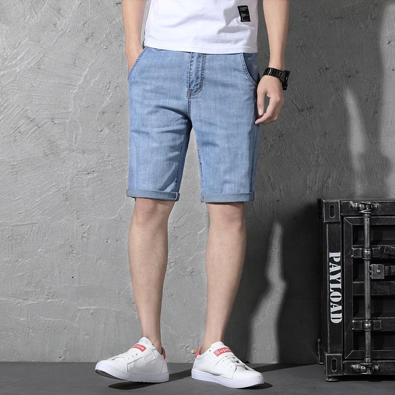 Elastic Denim Shorts Men's Fashion Summer Thin Section 5 Shorts Large Size Jeans MEN'S Fifth Pants