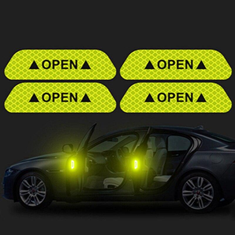 4 шт./компл. Автомобильная открытая светоотражающая лента предупреждающий знак ночного вождения безопасность освещение светящиеся аксессуары лента наклейки на дверь машины - Цвет: CWS0576YW