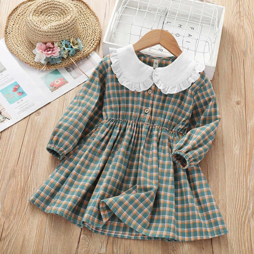 女の子ドレスニューキッズ長袖ピーターパン襟ドレス春の秋のファッションチェック柄のドレス子供服