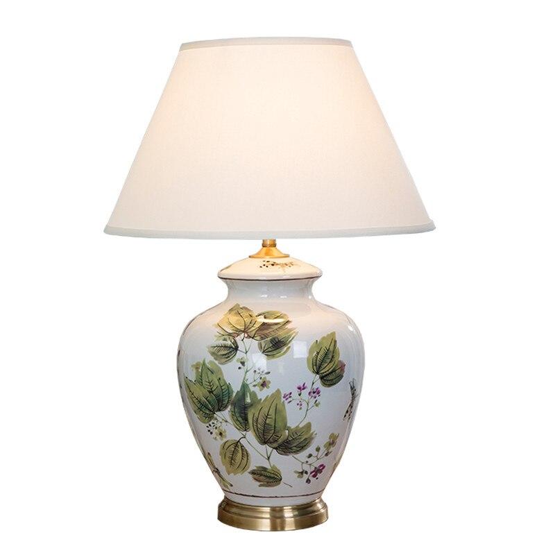 Style chinois fleurs feuilles oiseaux lampe de Table en céramique pour chambre chevet salon Foyer étude bureau lecture veilleuse TD047