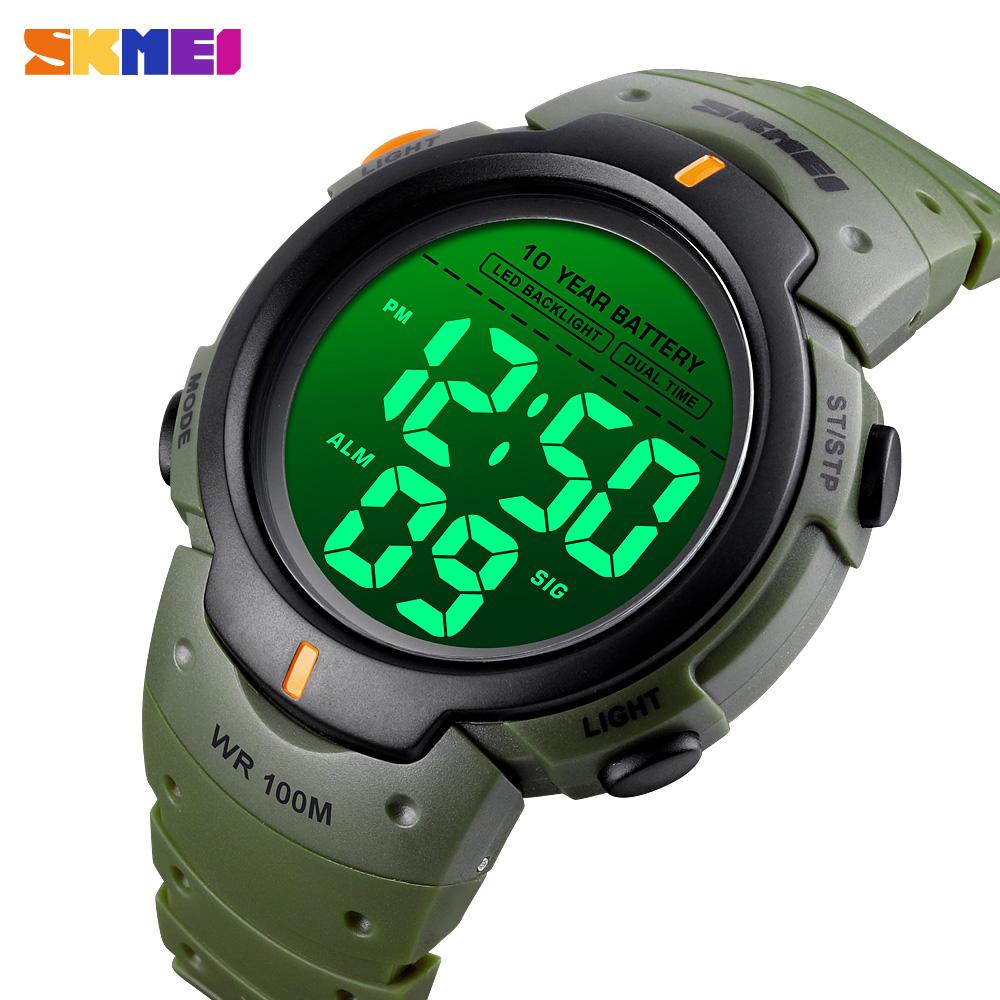 SKMEI Sport Outdoor Watches Mens Digital <font><b>100M</b></font> Waterproof Wrist Watch Men 2 Time Stopwatch Alarm Clock Top Brand reloj hombre image