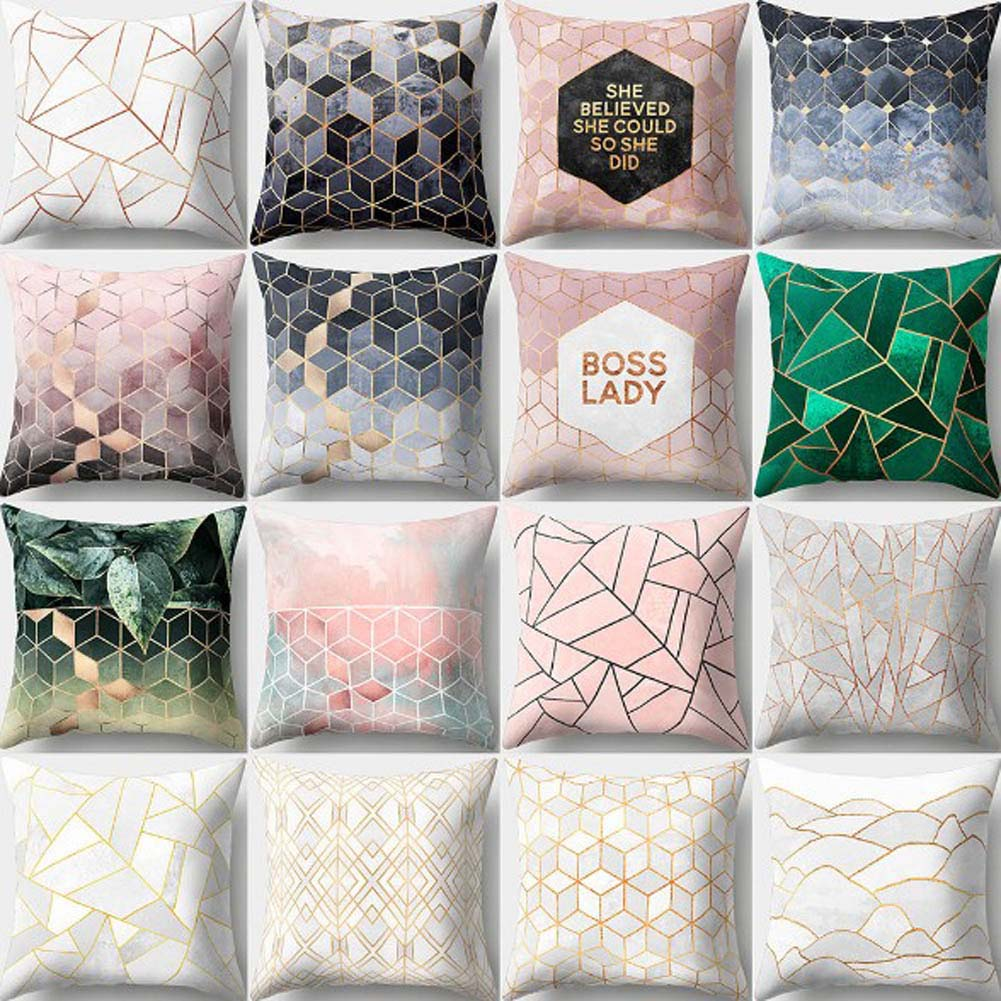 Nordic Style Geometric Printed Cushion Cover Polyester Throw Pillow Cases For Sofa Car Black Home Decorative Pillowcase 45*45cm