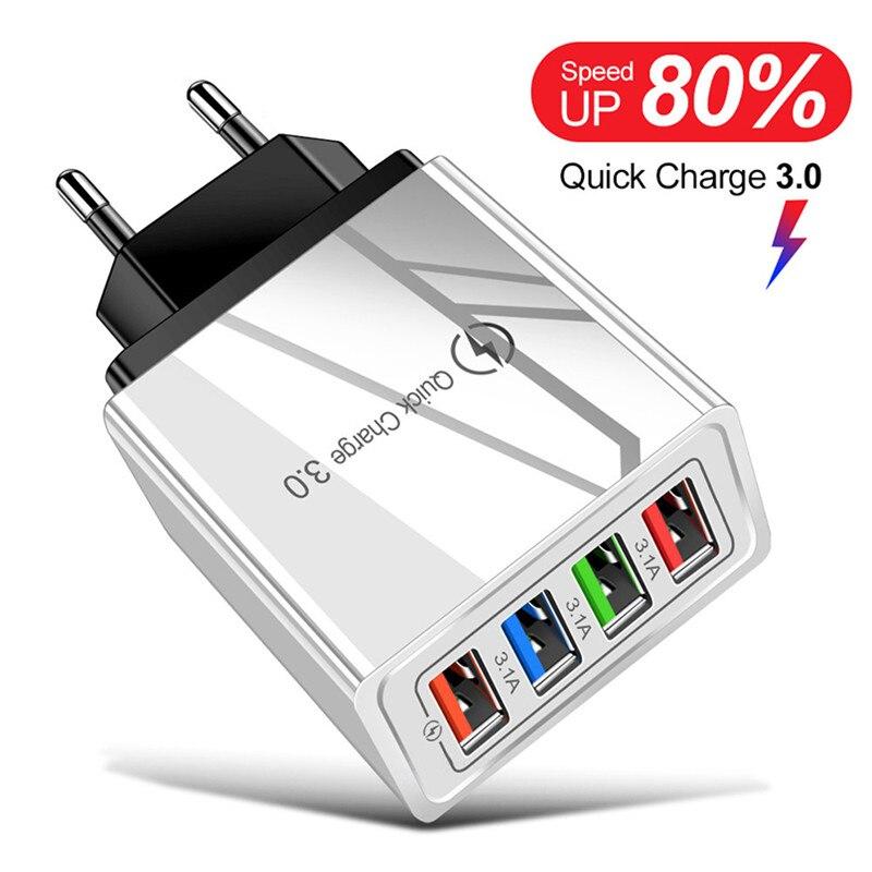 Lovebay чехол USB зарядное устройство Quick Charge 3,0 стены мобильный телефон зарядное устройство для iPhone Samsung портативный EU US вилка 3.1A быстрой зарядки