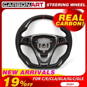 Steering wheel for Mercedes W205 C63 A45 W176 CLA45 GLC GLE class V260 W213 X253 GLA X156 carbon fiber steering wheel 2016-2018