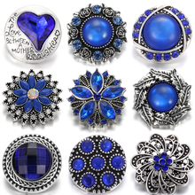 6pcs/lot New Rhinestone Snap Jewelry 18mm Mixed Blue Buttons Fit Button Necklace Charms Women