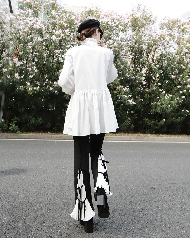 [EAM]2020 New Spring Autumn Stand Collar Long Sleeve White Loose Ruffles Stitch Irregular Shirt Women Blouse Fashion Tide JL679