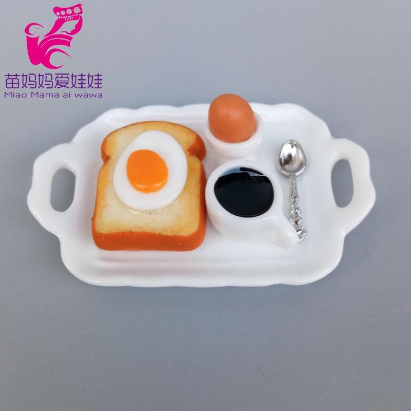 Minin Food Model Breakfast Bread Egg Coffe Accessories For Barbie Doll Blythe Licca 1/6 Bjd Doll Diy