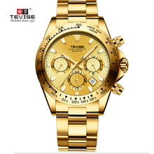 Men's Watches Tevise Automatic Waterproof Relogio Luxury Brand Golden Masculino Male