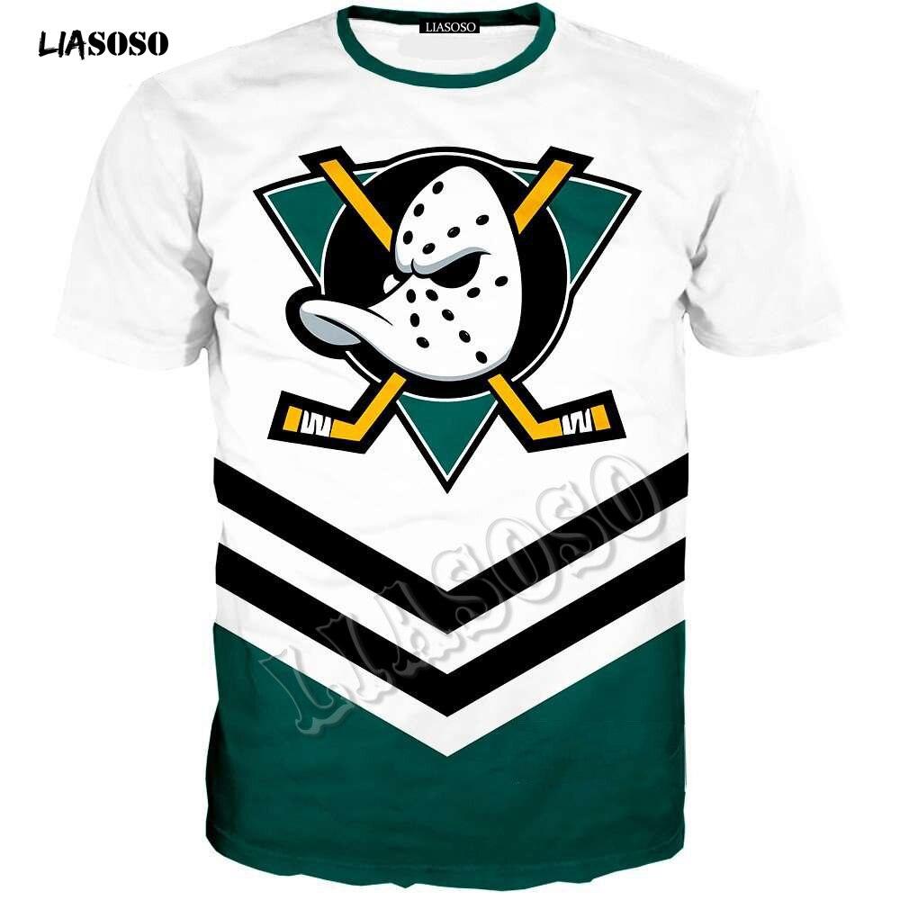LIASOSO été hommes femmes mode sweat 3D imprimer Anaheim canard t-shirt à manches courtes garçon Hip Hop haut col rond pull R3660
