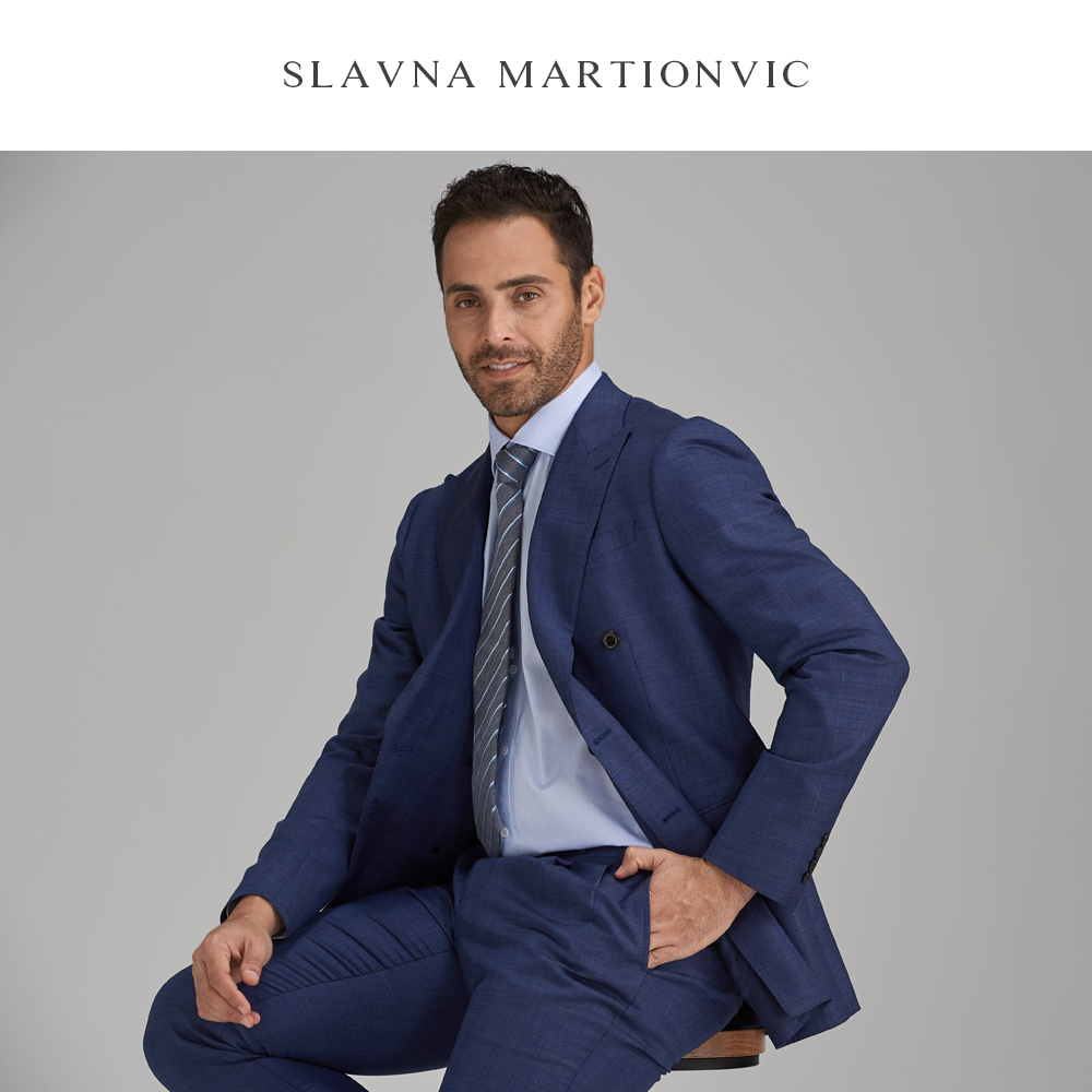 Slavna Martinovic Blue Checked Casual Business Suit Groomsman Married Pure Wool  Customization Suit Men's 2 Piece (Jacket+Pants)