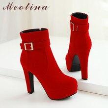 Meotina – bottines d'hiver à talon épais pour femme, chaussures courtes, avec boucle, fermeture éclair, talon épais, taille 33 à 43