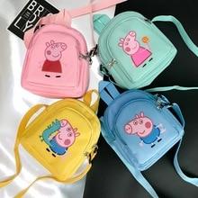 Новинка, игрушка свинья Пеппа, рюкзак с фигуркой, Высококачественная нейлоновая ткань, Сумка с героями мультфильмов, школьная сумка, Детский Рождественский подарок
