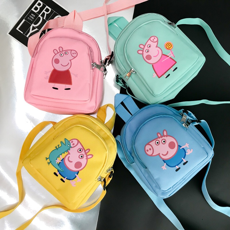 New Peppa Pig Toy  Action Figure Backpack High Quality Material Nylon Cloth Cartoon Bag School Bag Children's Christmas Gift