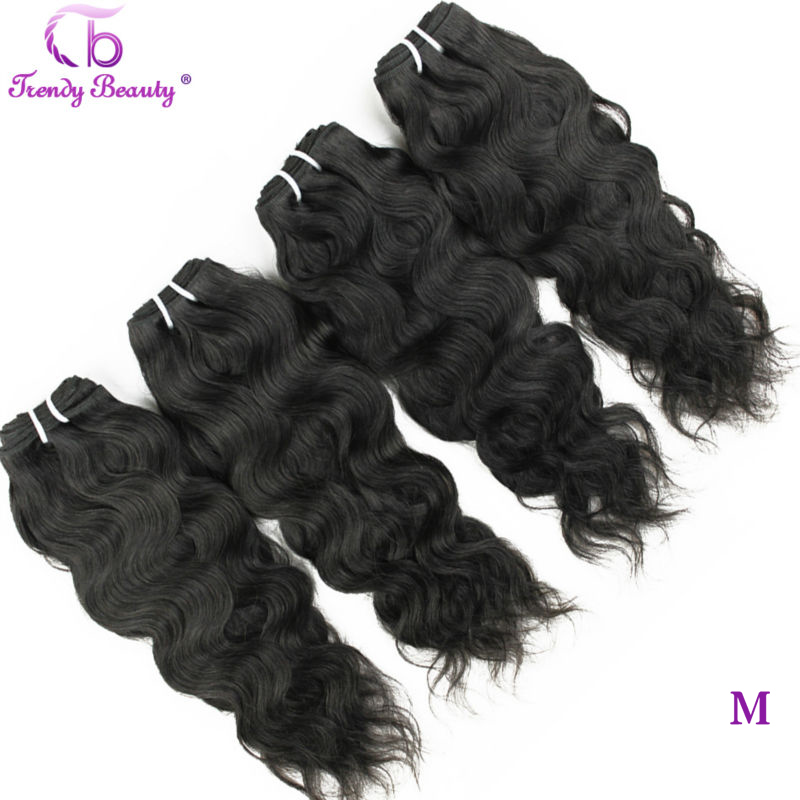 Trendy Beauty Hair Brazilian Natural Wave 4 Pcs Per Lot Natural Black Color 8- 30 Inches Can Be Dyed Non-Remy Hair Extensions