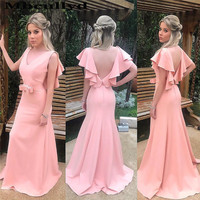 Mbcullyd Pink Mermaid Evening Dresses Long 2019 Deep V neck Backless Prom Gowns Formal Plus Size Vestidos De Fiesta With Bow