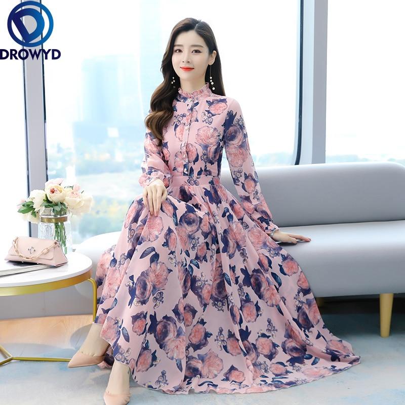 2021 летнее платье в стиле бохо, цвета: черный, розовый, шифоновое пляжное длинное платье в винтажном стиле 4XL размера плюс с длинным рукавом же...