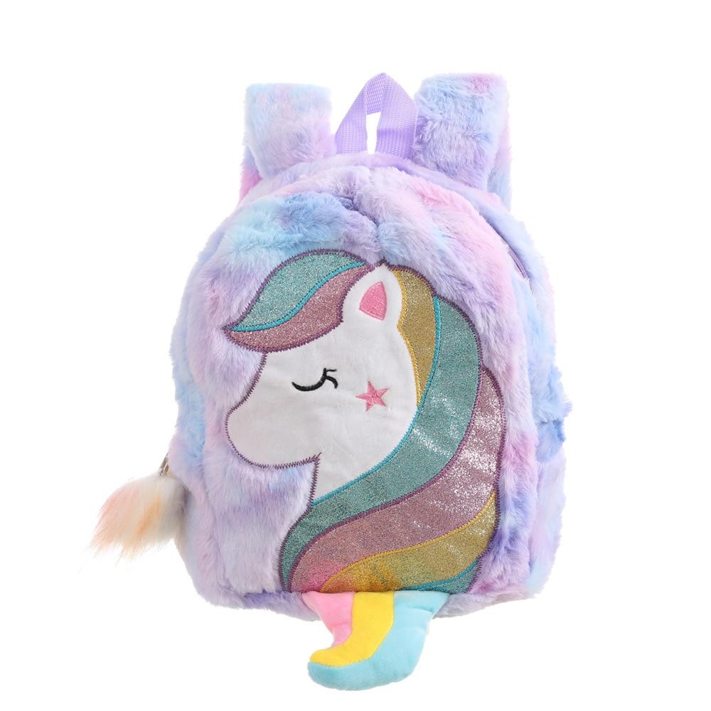 Winter Fur Unicorn Backpacks For Girls Cute Kindergarten Backpack Rainbow Schoolbag Cartoon Baby School Bags Children's Gift