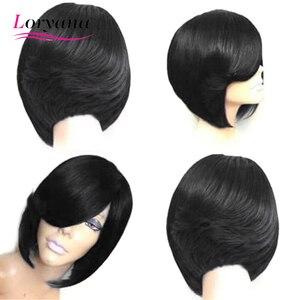 Loryana włosy syntetyczne peruka Bob peruki proste włosy peruka krótka dla kobiet naturalne czarne brązowe fioletowe zielone Party codzienne peruki Cosplay