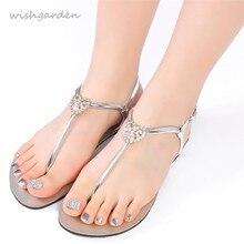 2021 NEW Summer Women`s Fashion Diamond Sandals Casual Beach Shining Shoes T-strap Thong flip flops Boho Flat Female Slippers
