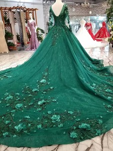 Image 3 - 2019 Korean Style Scoop Neck Matta Satin Full Sleeves A Line Green Wedding Dresses Lace Up Back With Beadings 3D Flower