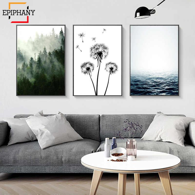 İskandinav orman tuval Poster doğa okyanus İskandinav manzara duvar sanat baskı resim dekoratif resim oturma odası dekor
