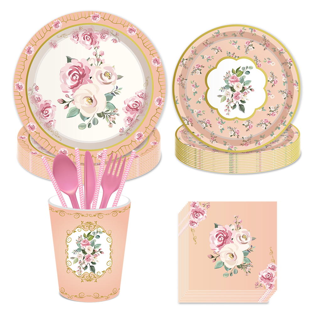 Floral Tea Party Paper Tea Cups with Handle 8 Pack Favor Girls Birthday Party
