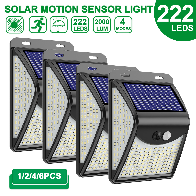 222 LED lampa słoneczna Outdoor 4 tryby Motion Sensor PIR Wall Light wodoodporna lampa słoneczna Solar Powered Sunlight Garden Decoration