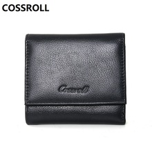 100% cow leather women wallets mini real female purse slim card holder wallet short ladies genuine coin