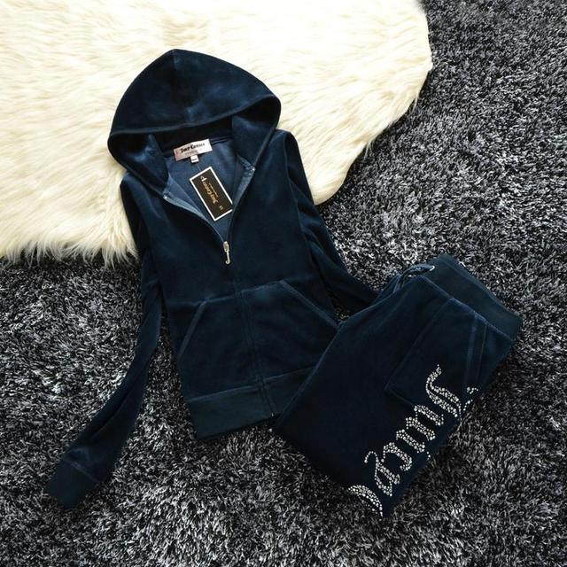 2021 Women's Brand Velvet  Spring/Fall Fabric Tracksuits Velour Suit Hoodies Zipper Sweatshirt And Pants Fat Sister Sportswear 2