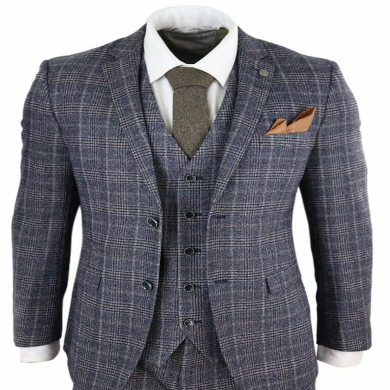 2020 Newest Grey Blue Mens Suits 3 Piece Tweed Check Suit Vintage Peaky Blinders 1920s Tailored Costume Homme