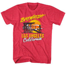 Baywatch Lifeguard Tower Silhouette Sunset Mens T Shirt Vintage Los Angeles Ca(China)