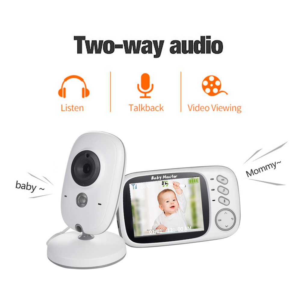 "Baby Monitor Camera Video 2-Way Talk 3.2/"" Digital Wireless Night Vision LCD Play"