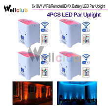4pcs 6X18W LED Senza Fili Alimentato A Batteria HA CONDOTTO LA Luce Par 6in1 RGBAW UV Da Sposa Uplight dmx & Wifi & IRC A distanza di Controllo Par Can(China)