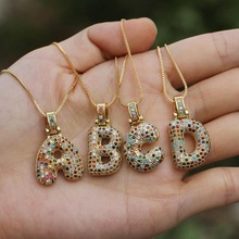 Hip hop fashion collection rainbow color CZ crystal pendant necklace gold CZ micro shop letter jewelry pieces for women jewelry