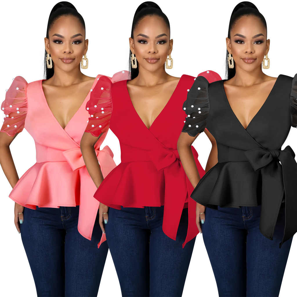 Sexy Blouse Tops Peplum V-hals Patchwork Korte Mouw Kralen Met Taille Riem Rood Zwart Tops Shirts Party Fashion Night datum Out