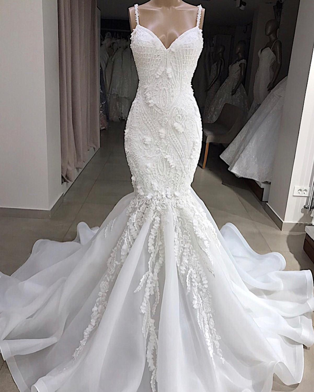 Vestido Sereia Sevy Spaghetti Strap Mermaid Wedding Gowns 2019 Beading Lace Applique Backless  Sweetheart Neck Dress