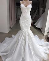 Vestido Sereia Sevy Spaghetti Strap Mermaid Wedding Gowns 2019 Beading Lace Applique Backless Sweetheart Neck Dress Wedding