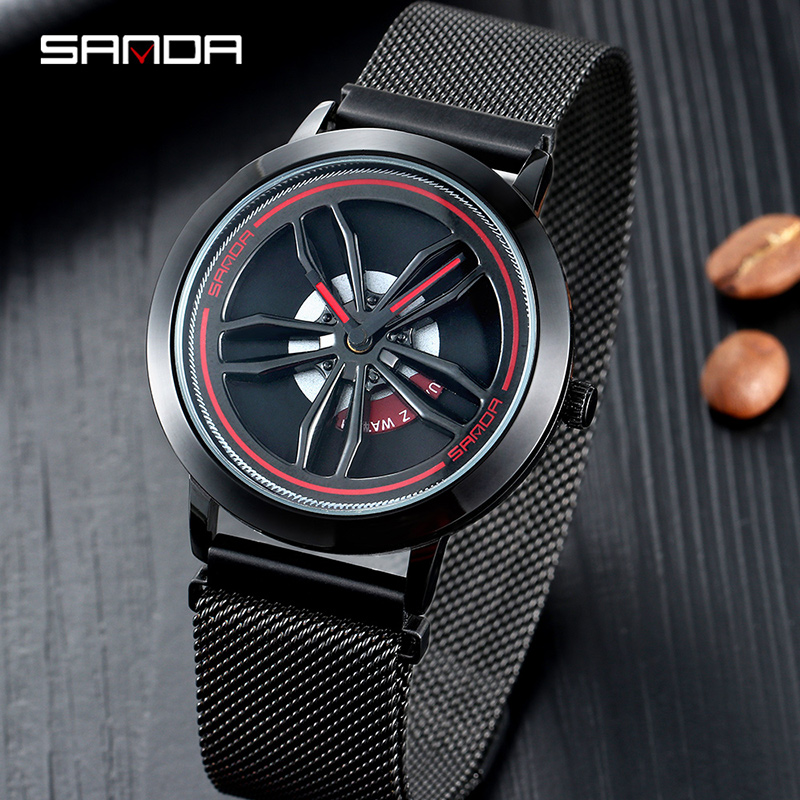 SANDA Rotate dial Men's Watches Top Brand Luxury Rose Gold Mesh Watch Men Fashion Business Wrist watches Relogio Masculino P1009