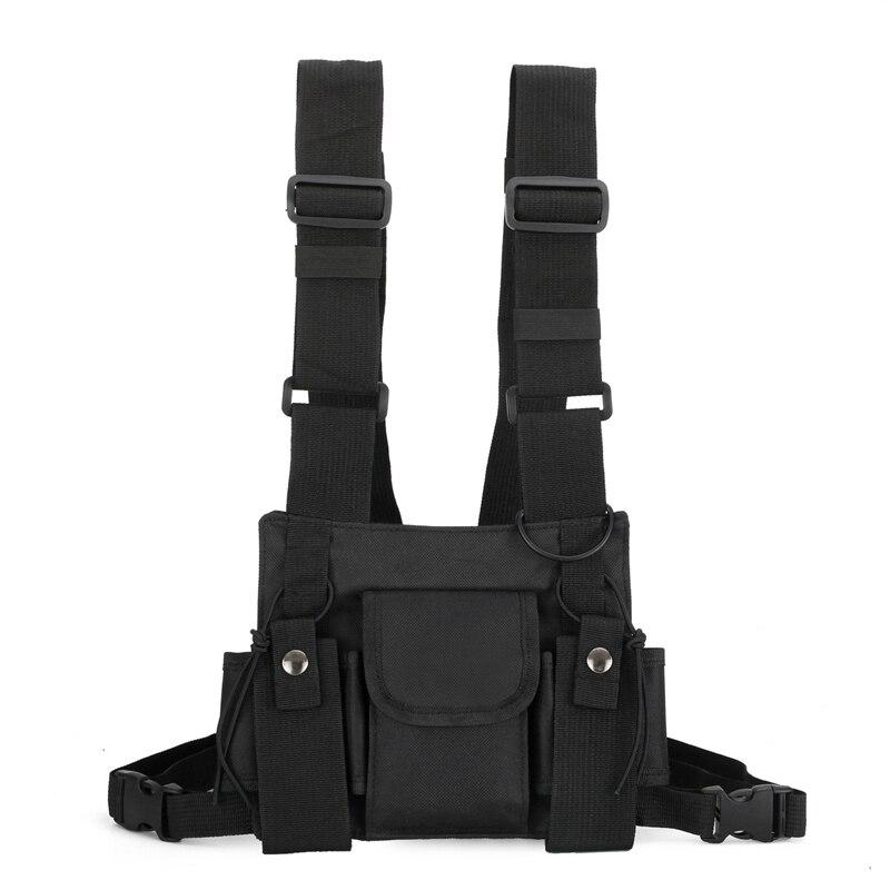 FFYY-Radio Walkie Talkie 3 Pocket Chest Pack Bag Harness For Motorola Baofeng KENWOOD Front Pack Vest Pouch Bag Carry Case