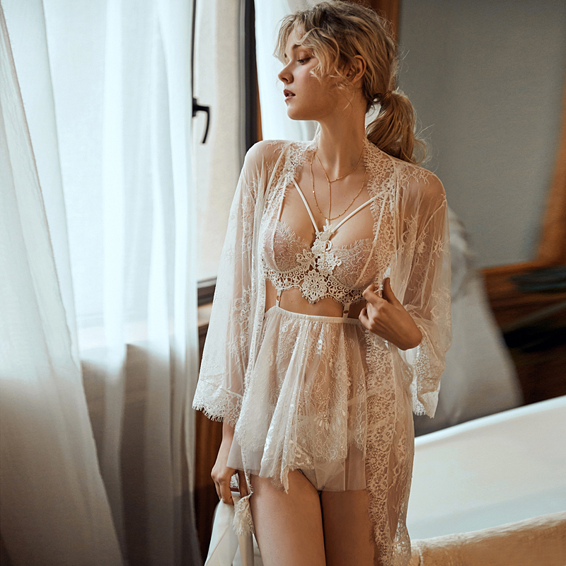 New Young Girl Sexy Ultra-thin Sleep Wear Eyelashes Lace Openwork Perspective Thin Straps Nightdress Set Red White Black Sloth