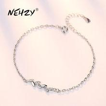 NEHZY – bracelet en argent Sterling 925 pour femme, bijou de haute qualité, motif feuille, zircone cubique, rétro, simple, longueur 20CM