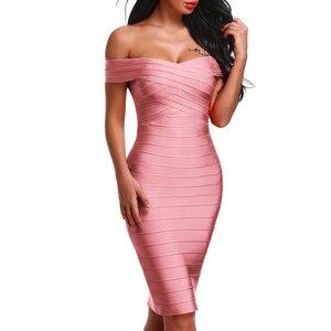 Image 5 - INDRESSME Sexy Off Shoulder Women Bandage Dress Elegant Slash Neck Knee Length Bodycon Backless Party Dress Vestidos 2020 New