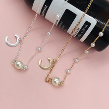 Hot selling letter C womens necklace pearl chain creative fashion delicate love holiday birthday gift