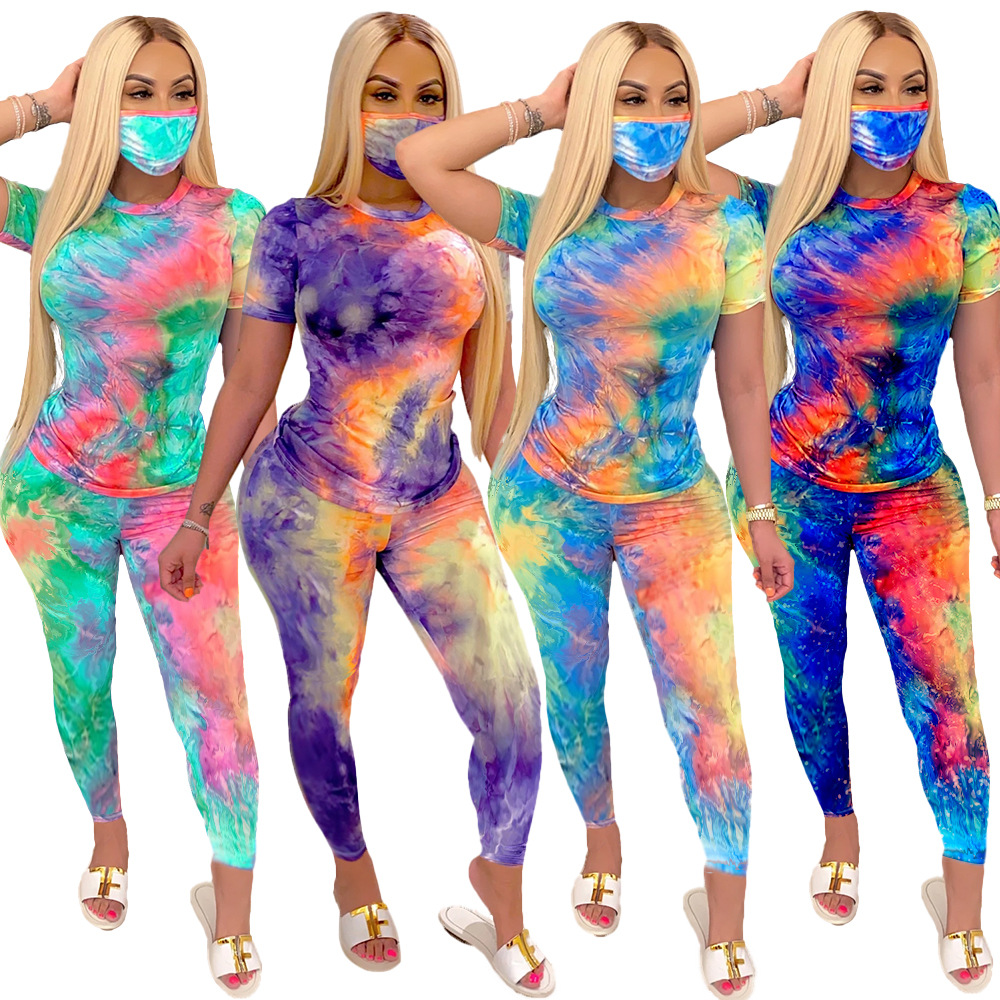 Women Tie-Dye Print 3 Pieces Sets With Mask Women Tracksuits T-shirt Pants Masks Club Suit Fitness Sporty Outfits F903(China)